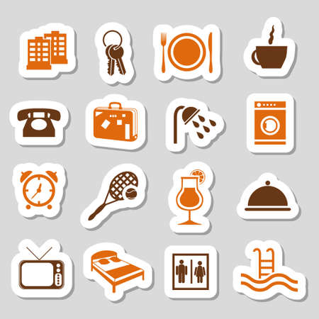 accommodation: hotel and accommodation stickers Illustration