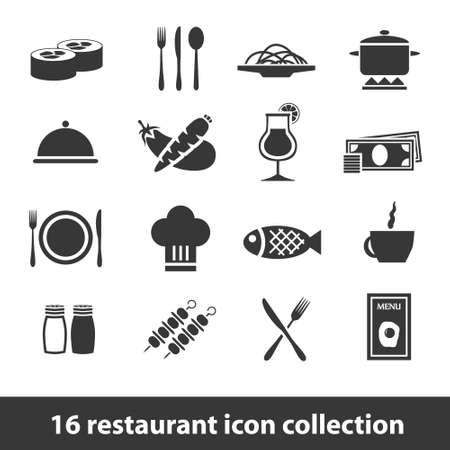 salt pepper: 16 restaurant icon collection