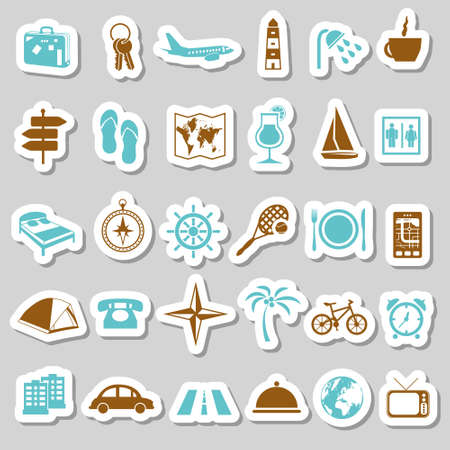 accommodation: travel and accommodation stickers Illustration