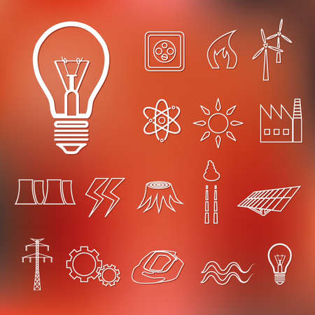 energy outline icons Illustration