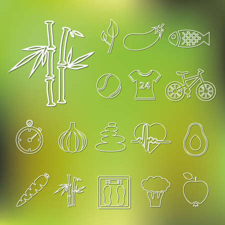 healthy lifestyle outline icons Vector