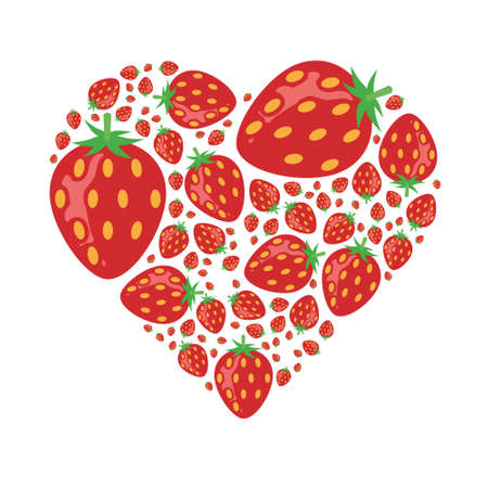 red shape: strawberries in heart