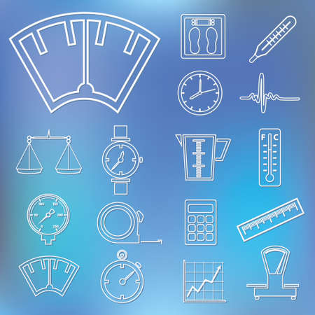 measuring outline icons Vector
