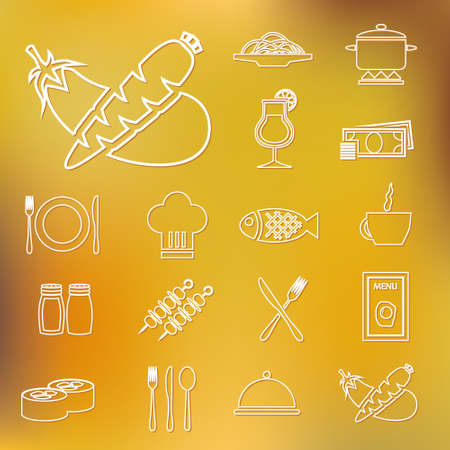 restaurant outline icons Vector