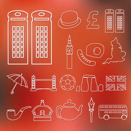 telephone booth: england outline icons