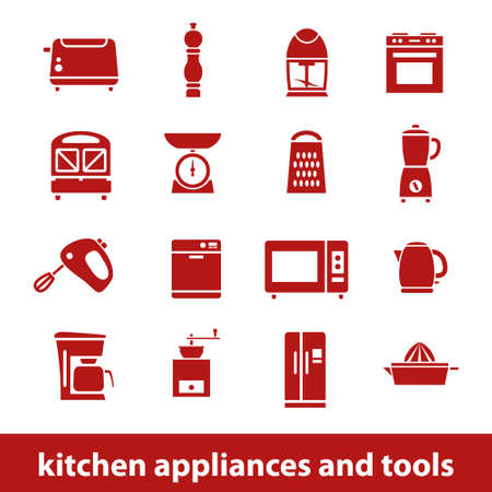 kitchen appliances and tools icons Vector
