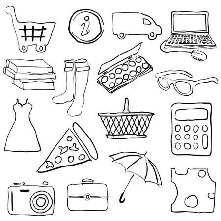 doodle shopping pictures Vector