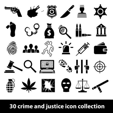 crime and justice icons Vector