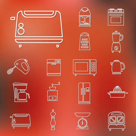 kitchen appliances: kitchen appliances and tools outline icons