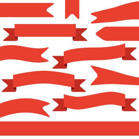 vertical banner: set of red ribbons Illustration
