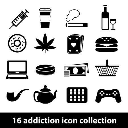 addiction drinking: addiction icons Illustration