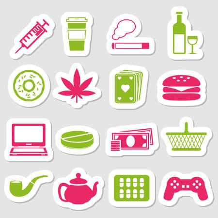 addiction stickers Vector