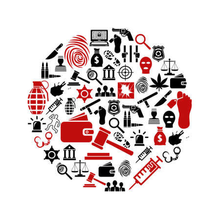 crime and justice icons in circle Vector