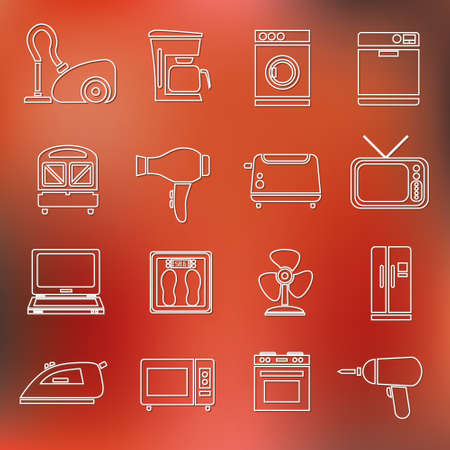 iron fan: home appliance outline icons