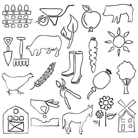 farm sketch images Vector