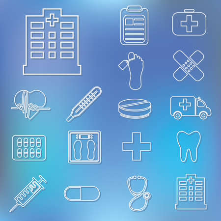 infirmary: outline hospital icons Illustration