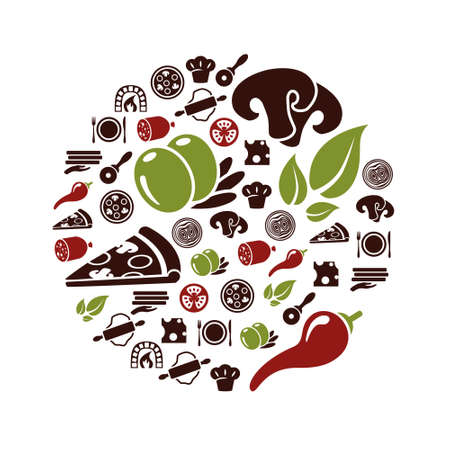 nudelholz: pizza Symbole Illustration