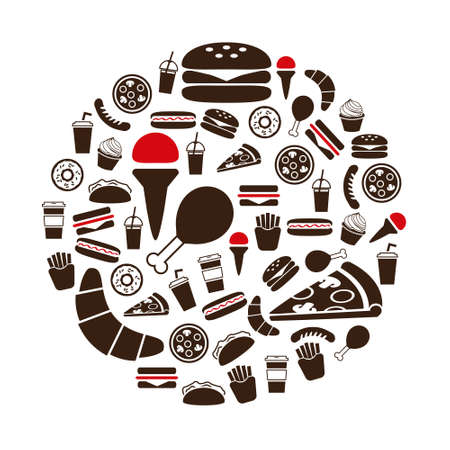 fast food icons in circle Vector