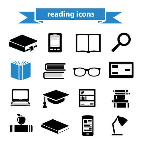 iconos de lectura Ilustración de vector