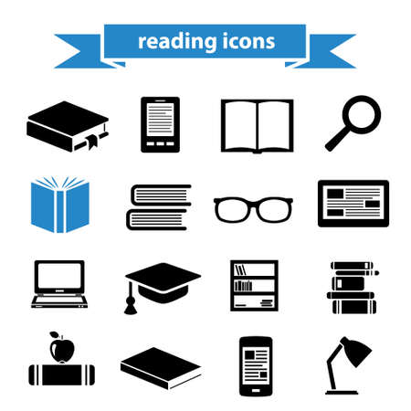 pastime: reading icons Illustration
