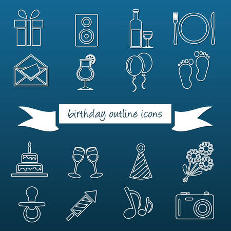 plate camera: birthday outline icons Illustration
