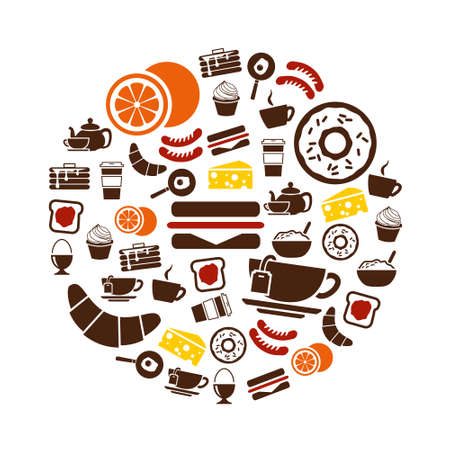 breakfast icons in circle Vector