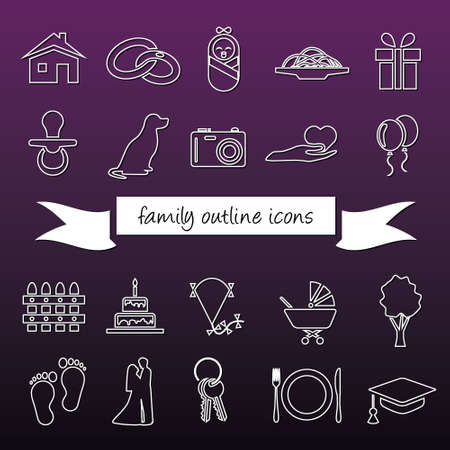 rings on a tree: family outline icons Illustration