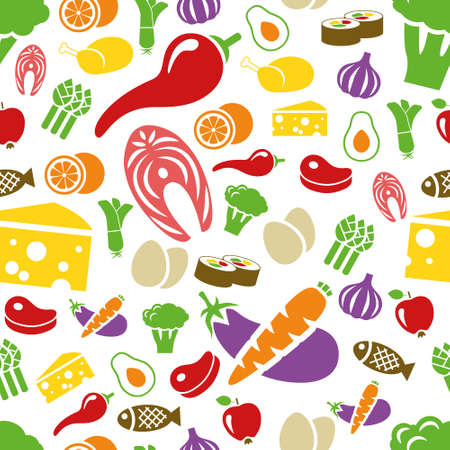 meat icon: healthy food seamless pattern Illustration