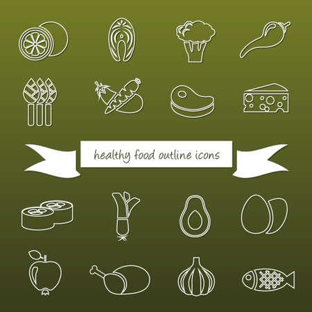 leek: healthy food outline icons Illustration