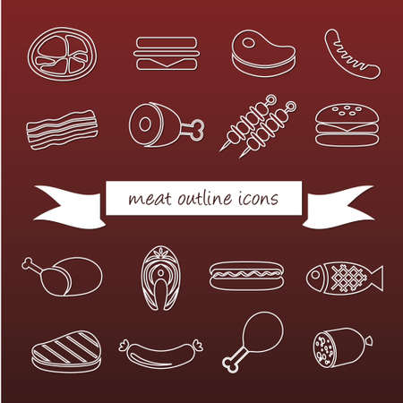 meat outline icons Vector