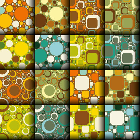 retro seamless patterns collection Vector