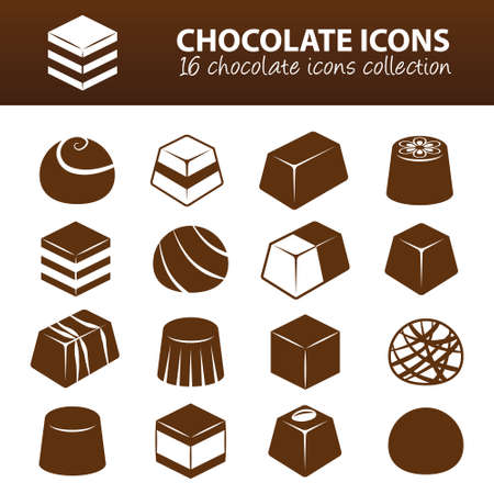 candies: chocolate icons Illustration