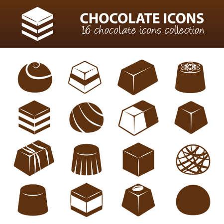 dulces: iconos de chocolate