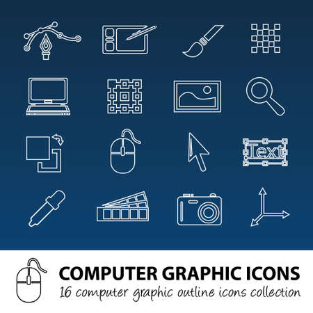 computer graphics: gr�ficos de computadora contorno iconos