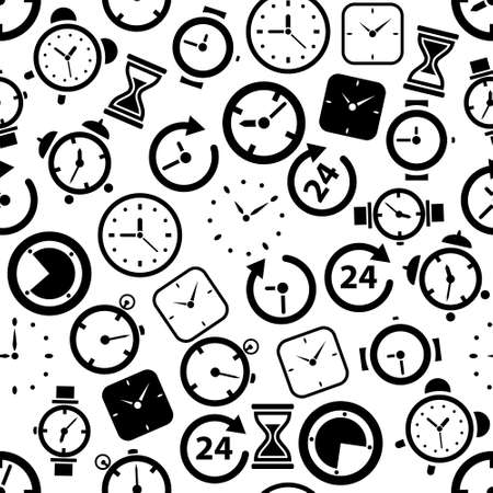 opening hours: time seamless pattern Illustration
