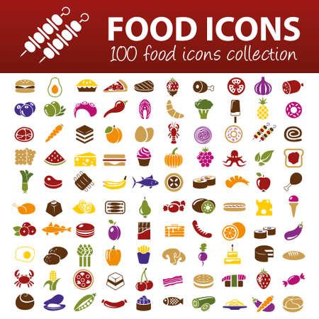 Cientos de iconos de los alimentos Foto de archivo - 32516973