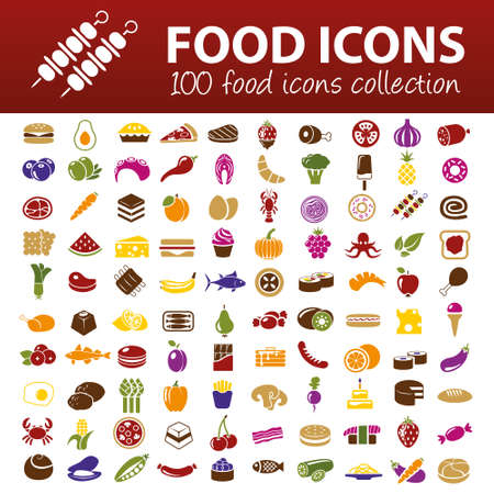 hundred food icons Reklamní fotografie - 32516973