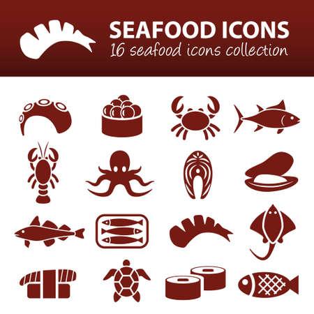 seafood icons Фото со стока - 32517110