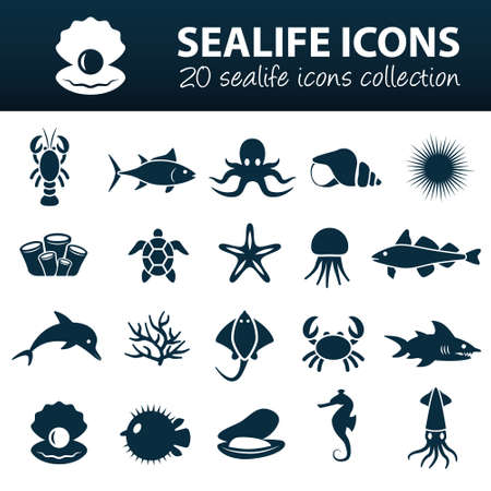 sealife icons Vector