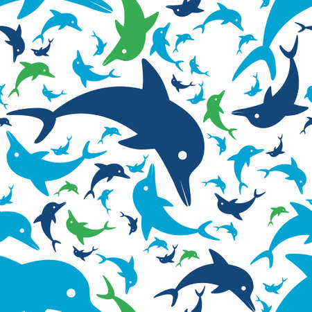 dolphins: dolphin seamless pattern Illustration