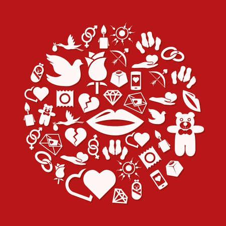 condom: love icons in circle Illustration
