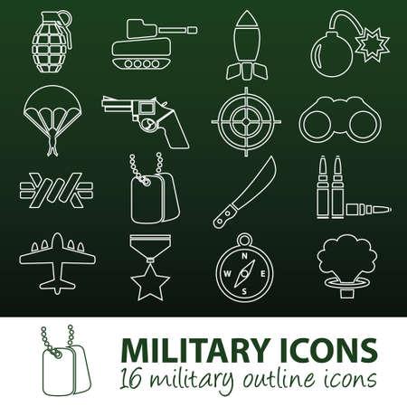 machete: military outline icons