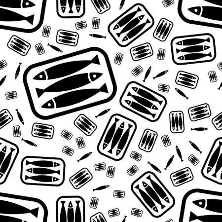 sardine: tin of sardines seamless pattern