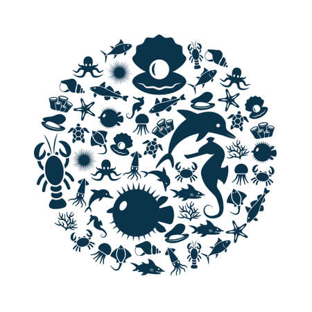 sea urchin: sealife icons in circle