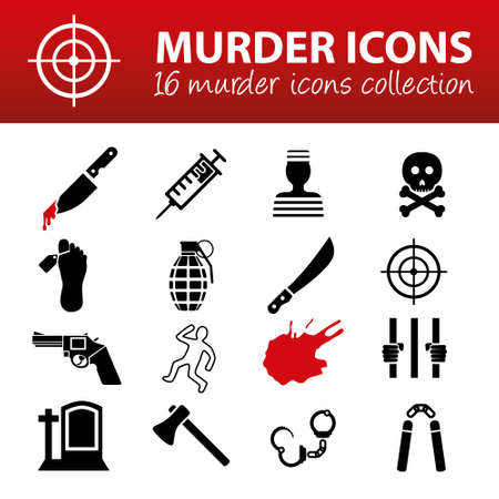 homicide: murder icons Illustration