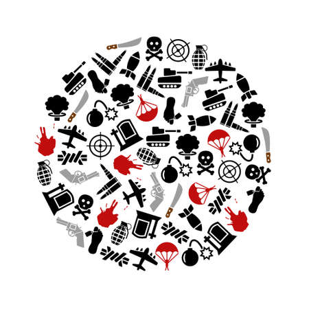 war icons in circle Vector