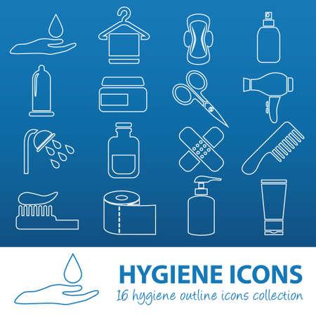 condom: hygiene outline icons Illustration