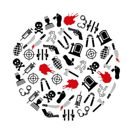 machete: murder icons in circle