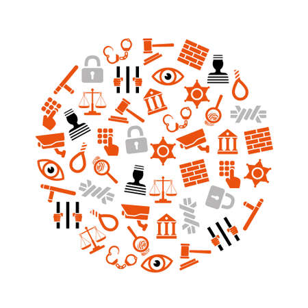 prison icons in circle Vector