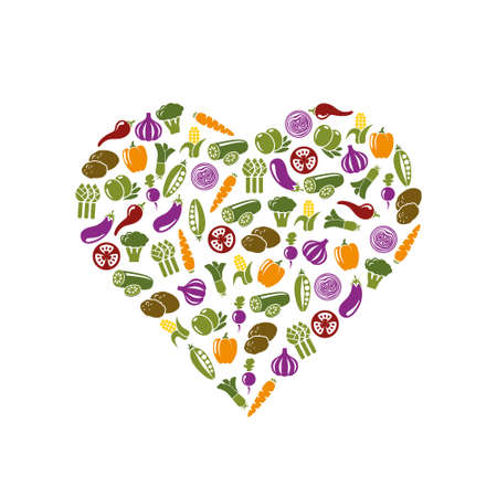 olive farm: vegetable icons in heart